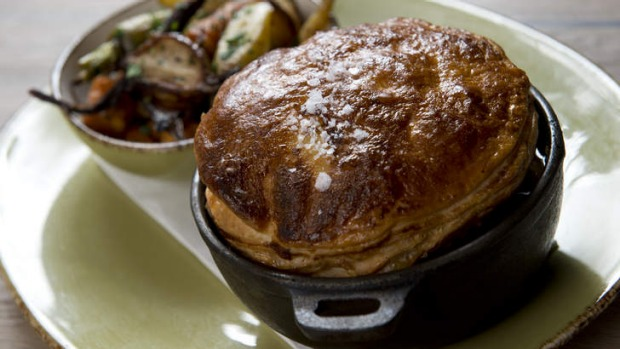 Exceed expectations ...The lamb shank pie with roast vegetables.