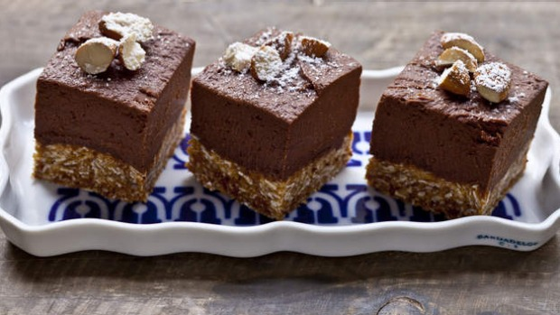 Chocolate-banana cheesecake with a chewy Anzac biscuit base.