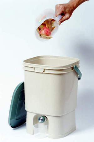 The bokashi bucket food recycling system.