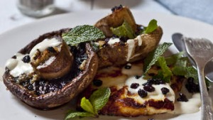 Grilled mushrooms with garlic, tahini and haloumi.