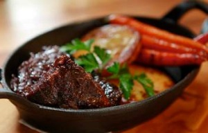 The braised ox cheek with fondant potatoes and glazed carrots from Ginger Jones cafe in Dandenong