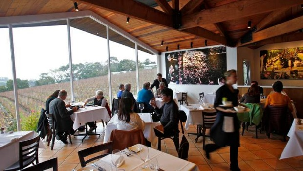 Paringa Estate's dining room has multimillion dollar views of serried vines and rolling hills.