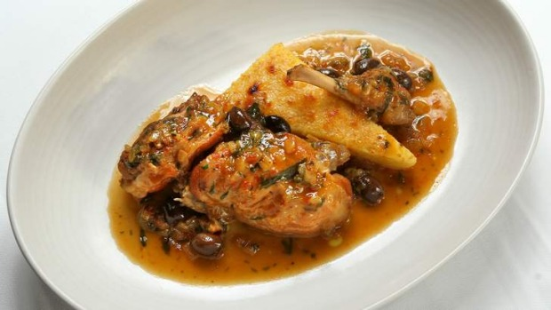 Centonove's braised rabbit with semolina gnocchi.