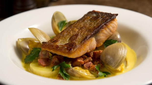 Beautifully balanced ...  Sea trout with clams, Merguez sausage, champagne cream and saffron.