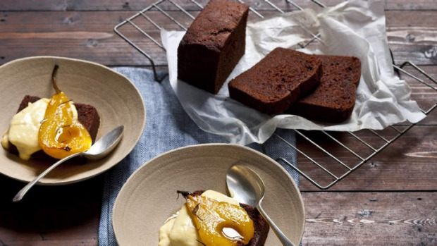 This chocolate loaf cake (rear) tastes lovely alone or with baked pears and custard.