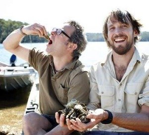 The pair indulge in local oysters on the far south coast of NSW.