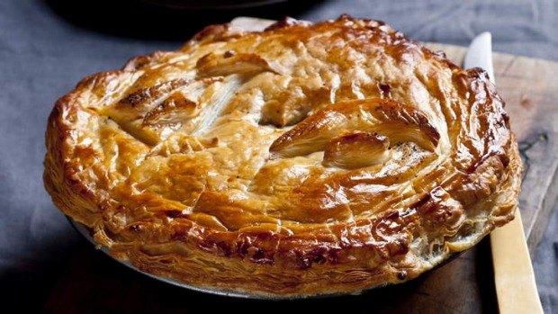 Chicken, leek and mushroom pie.