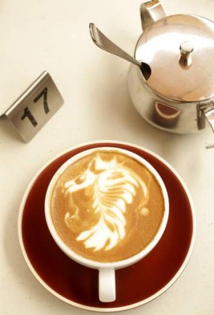 A latte seahorse ... Another of Fomchai Pranomum's designs.