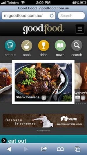 The home screen ... Simply type goodfood.com.au into the browser on your smartphone.