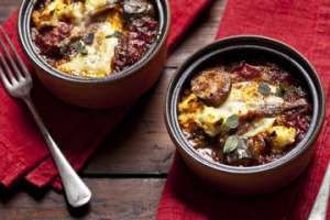 Eggs with ratatouille, ricotta & anchovies. Karen Martini RATATOUILLE recipes for Epicure and Good Food. Photographed by ...