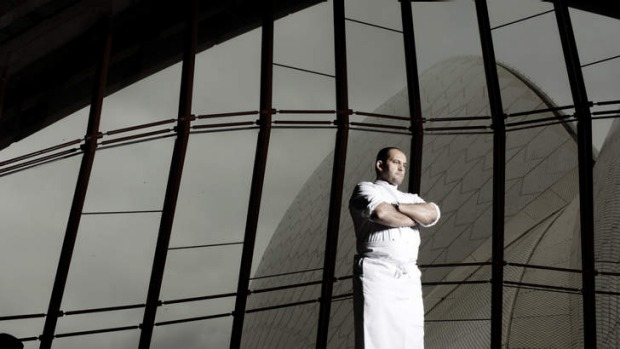 Guillaume Brahimi in his restaurant at the Bennelong site in the Opera House.
