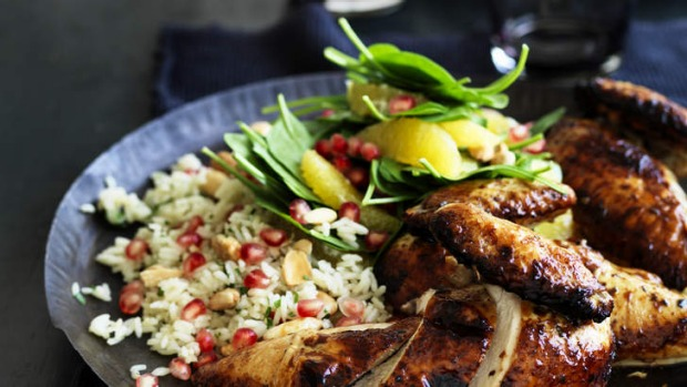 Pomegranate glazed chicken with herb pilaf Recipe   Good Food