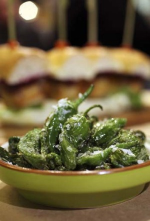Fried padron peppers.