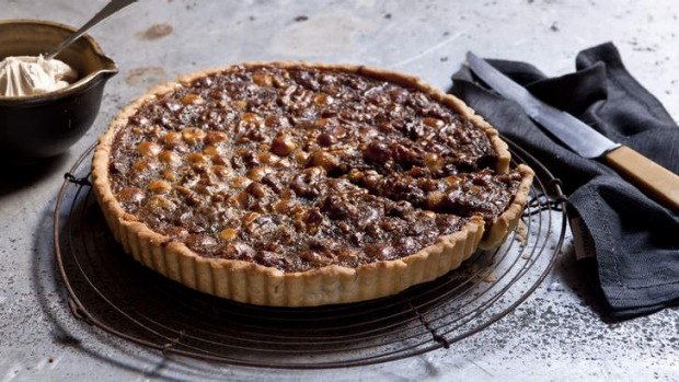 Walnut, macadamia and honey tart.