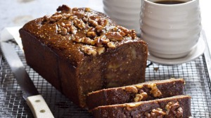 Spiced coffee, date and pomegranate loaf.