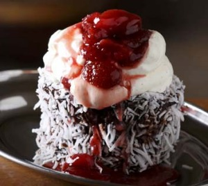 Secret New Zealand business: The Cook & Baker in Bondi Junction serves their lamingtons topped with strawberry jam and cream.