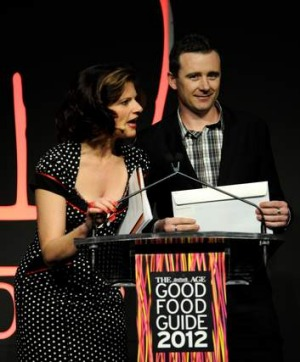 Dan Hunter receives his award, <i>The Age Good Food Guide Chef of the Year</i> 2011 from awards host Julia Zemiro.