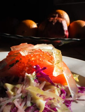 Ocean trout and roe with apple coleslaw and riesling jelly.
