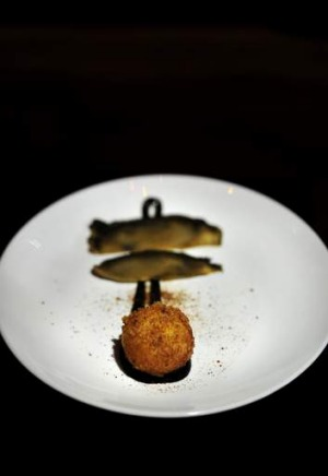 Crab croquette with smoked portobello.