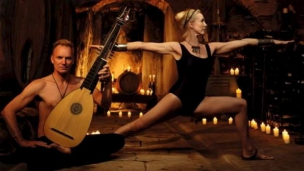 Sting, pictured playing the lute while his wife does yoga, also made the list.