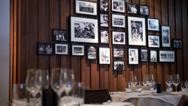 Family business ... Gambaro history lines the wall at Cut Steakhouse and Tapas.