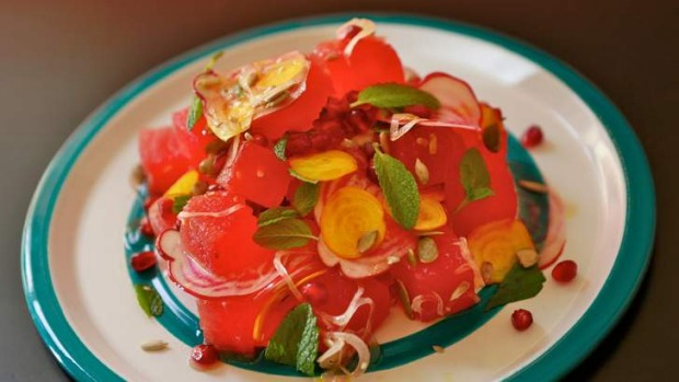Mesa Verde's ravishing red watermelon, beetroot and pomegranate salad.