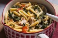 Pennette with tuna, silverbeet & mascarpone. Karen Martini OFF THE SHELF recipes for Epicure and Good Food. Photographed ...
