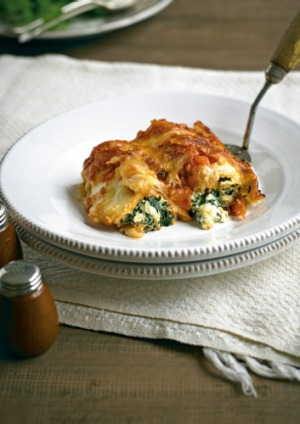 Classic cannelloni stuffed with spinach and ricotta.