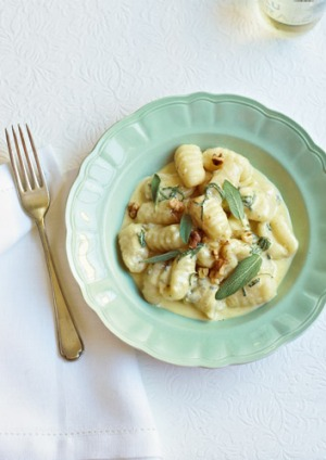 Potato gnocchi in a creamy, cheesy sauce.