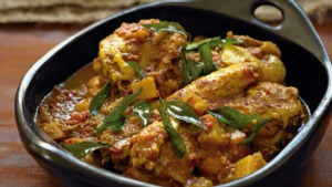 Aromatic chicken curry.
