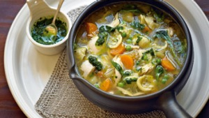 Leftover cooked chicken can be used in this hearty soup.