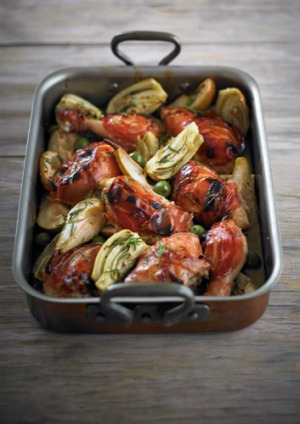 Mediterranean-inspired chicken tray bake.