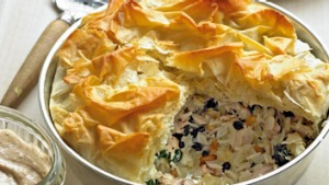 Tahini sauce lifts this Greek=style chicken pie.