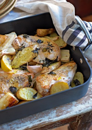 Baked chicken with parsnip and potato.