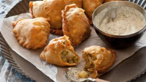 Potato and pea parcels.