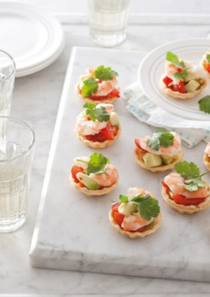 Mini prawn and avocado tartlets recipe good food for How to make canape shells at home