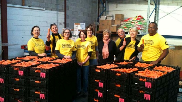 OzHarvest volunteers prepare for the big feast.