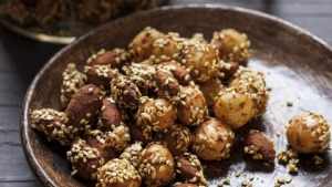 Spiced tamari almonds, macadamias and sesame seeds.