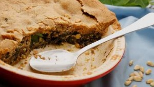 Winter greens pie with nut pastry.