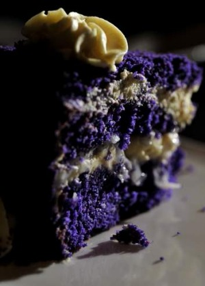 Purple yam cake at Kusina Filippino restaurant in Weston.
