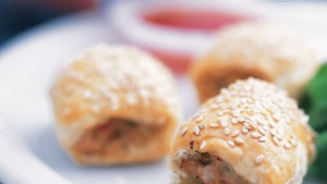 Thai chicken sausage rolls.