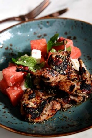 Highlight ... Mastic spiced quail with fetta and watermelon salad.