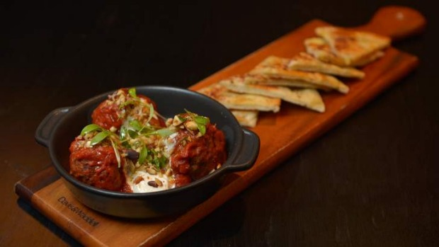 On the board: Moroccan-style beef meatballs.