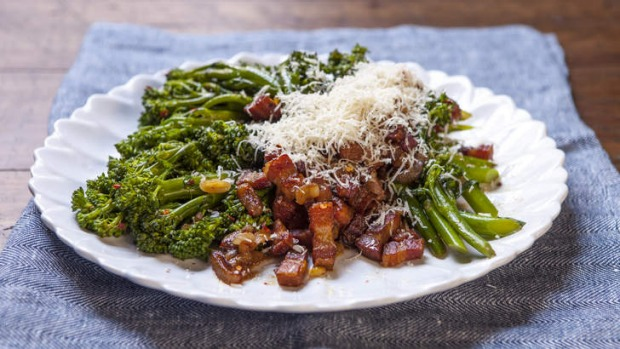 Broccolini with smoked speck, garlic and chilli.