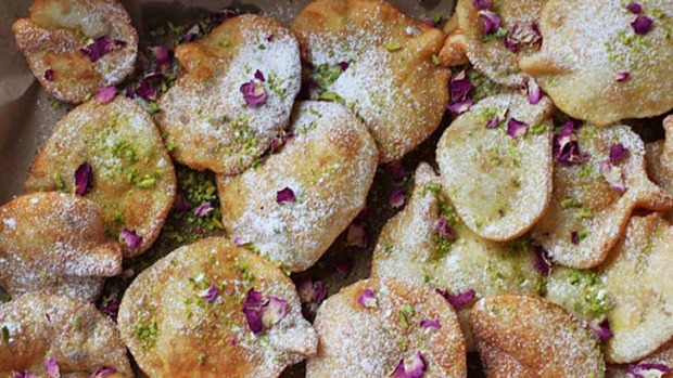 Crunchy and sweet ... These traditional Afghan biscuits are flavoured with cardamom and pistachio nuts.