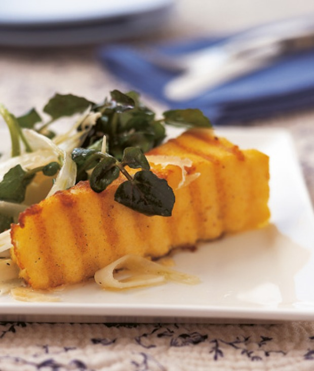 Grilled polenta wedges with a simple fennel salad.
