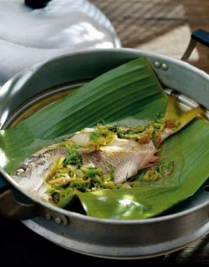 Thai street food image from Thai Street Food, by David Thompson - steamed fish with chilli and lime sauce. SPECIAL 071109