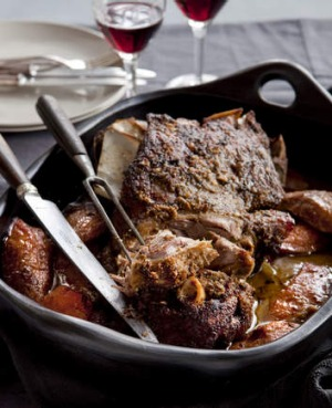 Karen Martini's Slow roasted lamb shoulder with pears and cumin.