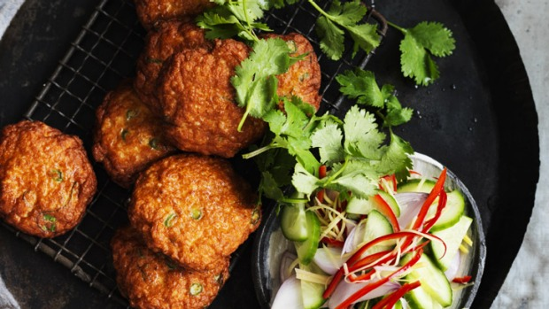 Thai style fish cakes with cucumber relish recipe good food for Thai fish cakes