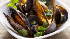 Frank Camorra's red curry of mussels.